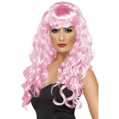 Goedkope  Party pruik dames roze