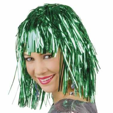 Goedkope  Party pruik groen lurex