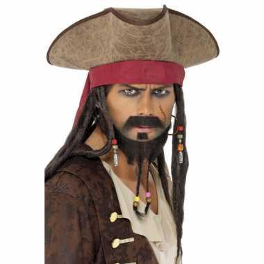 Goedkope pirates hoed dreads pruik