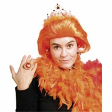 Goedkope prinses beatrix pruik oranje kroontje