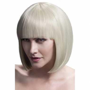Goedkope professionele blonde boblijn damespruik
