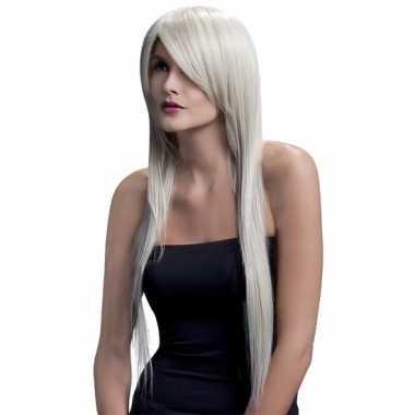Goedkope professionele lange stijle damespruik blond
