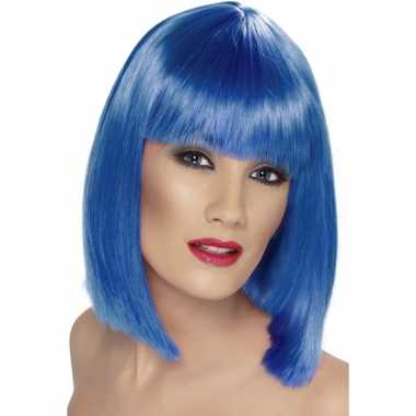 Goedkope  Pruik fel blauw dames