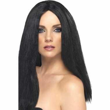 Goedkope  Pruik lang zwart haar