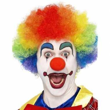 Goedkope regenboog clown pruik volwassenen