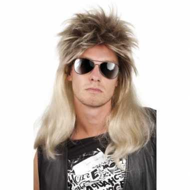 Goedkope  Rocker heren pruik blond haar