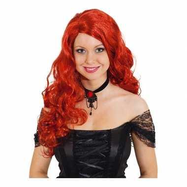 Goedkope  Rode gothic pruik dames