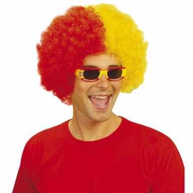 Goedkope  Rood geel feestpruiken afro
