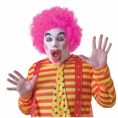 Goedkope roze clownspruik volwassenen