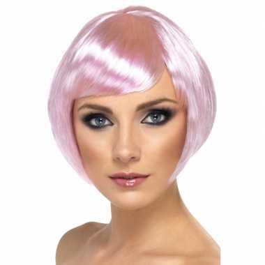 Goedkope roze damespruik kort haar