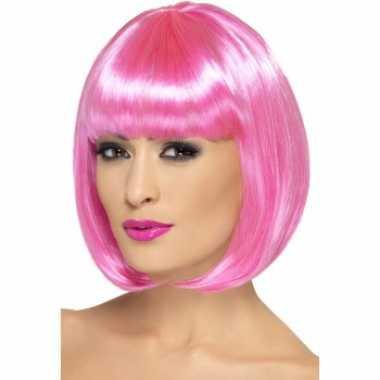 Goedkope  Roze damespruiken pony