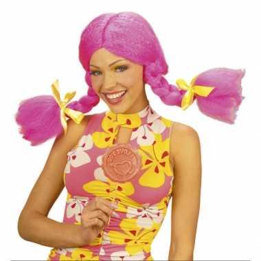 Goedkope  Roze Dolly pruik dames