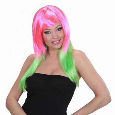 Goedkope  Roze groene pruik dames
