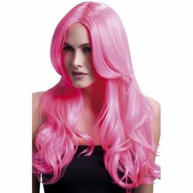Goedkope roze pruik krullen om zelf te stylen