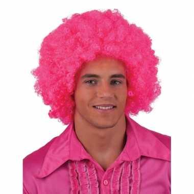 Goedkope  Roze pruik krulletjes