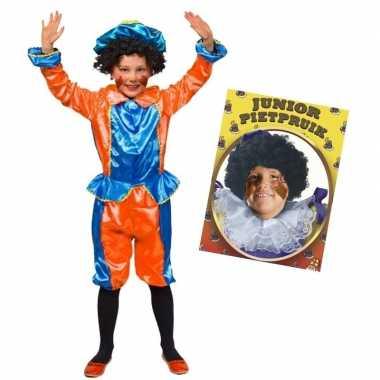 Goedkope set blauw oranje kids jr pietenpak pruik