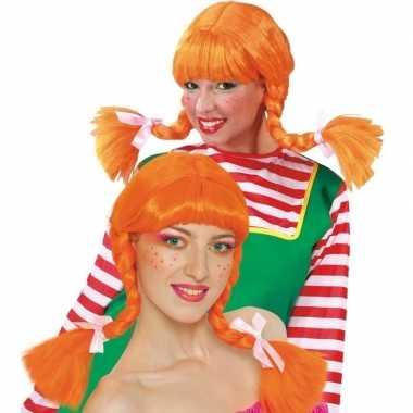 Goedkope sterk meisje pruik oranje dames