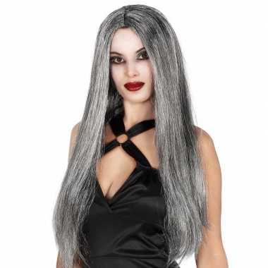 Goedkope stijle lange dames heksen pruiken grijs