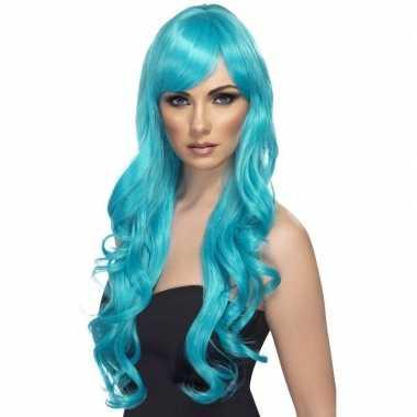 Goedkope turquoise blauwe pruik dames