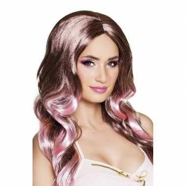 Goedkope tweekleurige damespruik krullen bruin roze