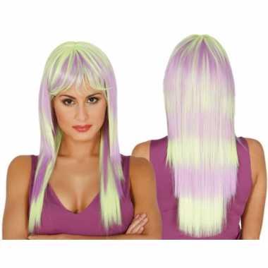 Goedkope  Verkleed damespruiken lang haar twee kleuren