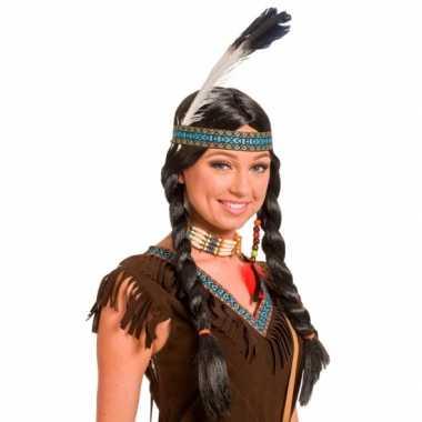 Goedkope verkleed indianen pruik dames