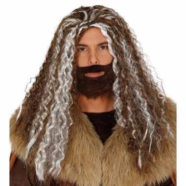Goedkope viking pruik bruin grijs heren