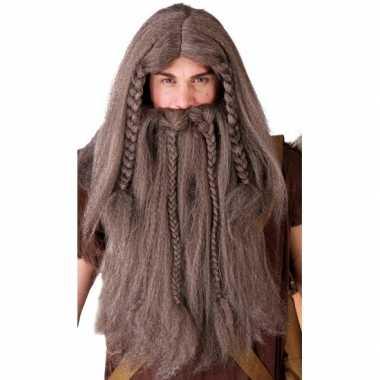 Goedkope vikingen verkleedpruik baard bruin