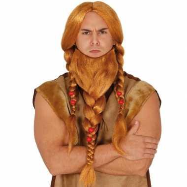 Goedkope vikingen verkleedpruik rood baard