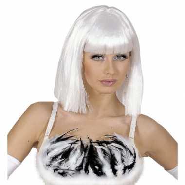 Goedkope  Witte damespruik schouderlengte