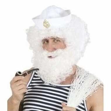 Goedkope witte kapiteinspruik baard