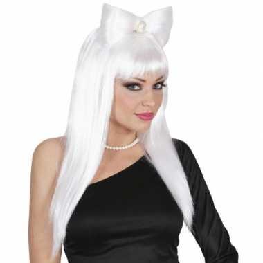 Goedkope  Witte Lady Gaga look a like pruik