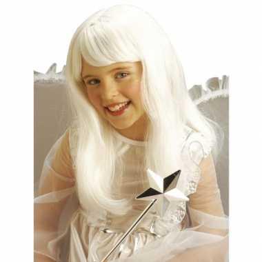 Goedkope  Witte lange prinsessen pruik kids