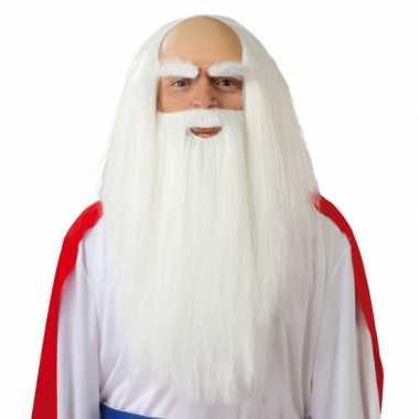 Goedkope  Witte pruik lange baard heren