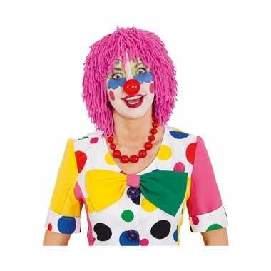 Goedkope  Wollen clownspruik roze