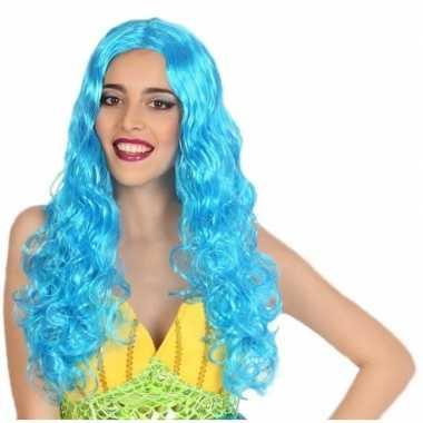 Goedkope zeemeermin verkleed pruik blauw dames