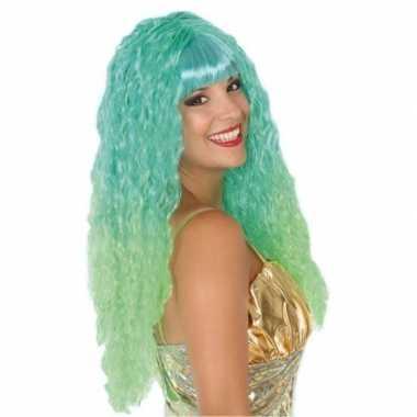 Goedkope zeemeermin verkleed pruik groen/aqua dames