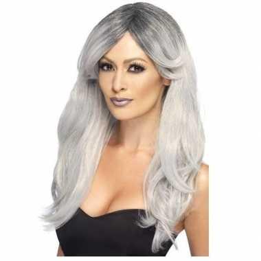 Goedkope zilver/grijze pruik dames