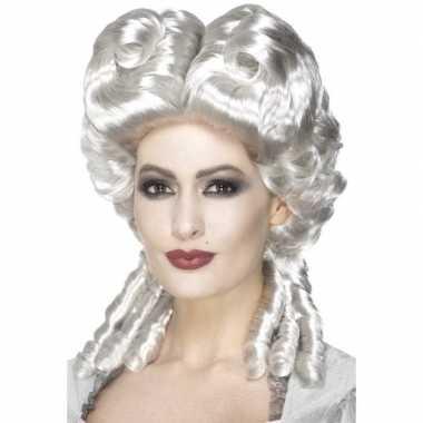 Goedkope zilveren keizerin pruik dames