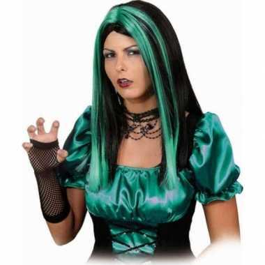 Goedkope  Zwart groene pruik lang haar