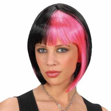 Goedkope  Zwart roze boblijn dames pruik