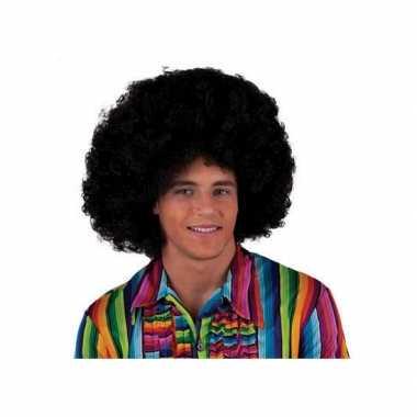 Goedkope zwarte afro pietenpruik volwassenen