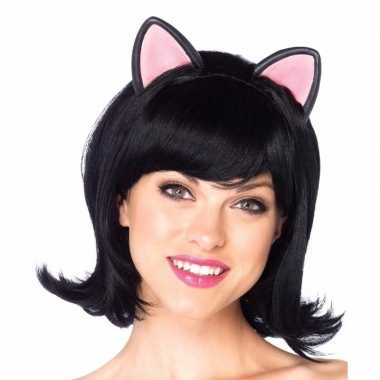 Goedkope zwarte damespruik poezen kattenoren