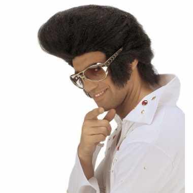 Goedkope  Zwarte Elvispruik