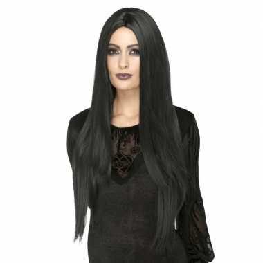 Goedkope zwarte lange luxe heksen/gothic pruik dames