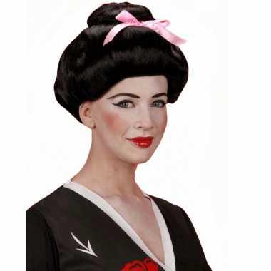 Goedkope  Zwarte pruik Geisha stijl