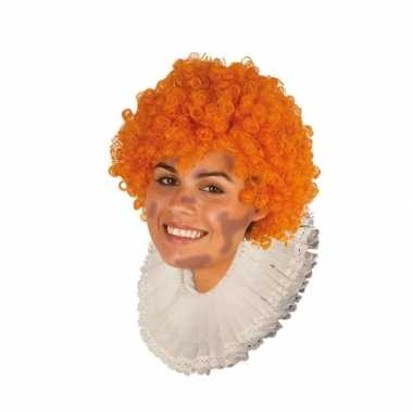Goedkope zwarte roetveeg pieten pruik oranje