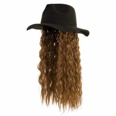 Goedkope zwarte verkleed hoed pruik lang bruin haar