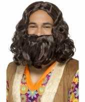 Goedkope bruine hippie pruik baard heren