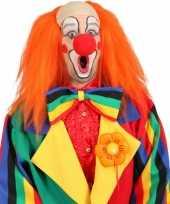 Goedkope clown pruik oranje kaal voorhoofd